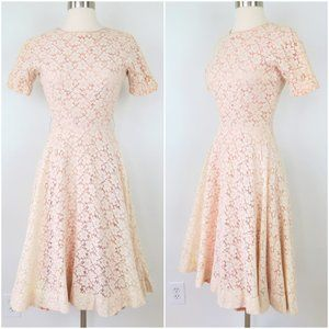 Vintage 50s Cream Full Lace Fit & Flare Dress